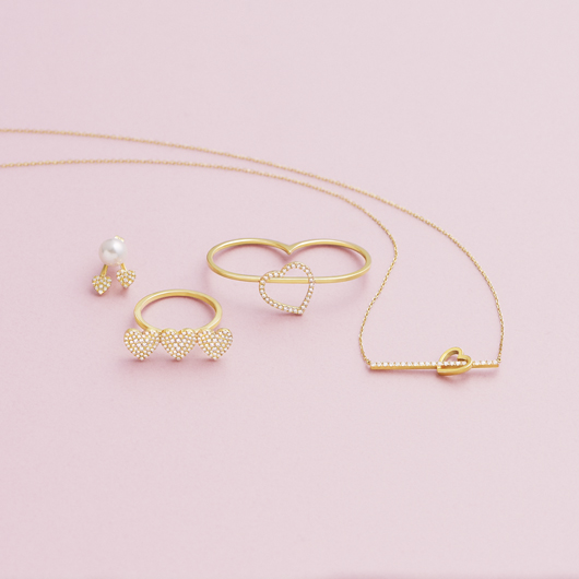 heart pavé duo pearl 耳環