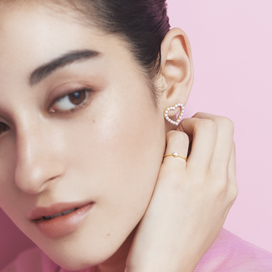 perle heart 耳環
