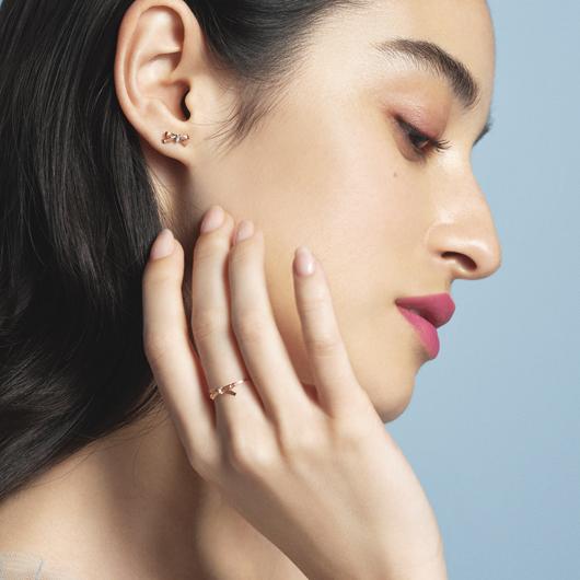 petit ruban rose 耳環